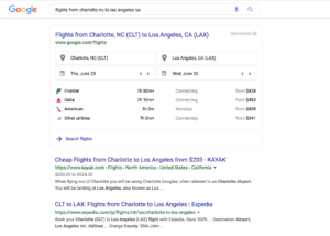 Google flight results